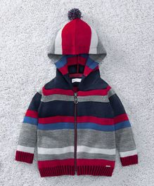 Babyoye Full Sleeves Front Open Hooded Sweater - Red Blue