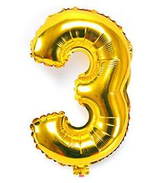 Shopperskart Helium Foil Balloon Number 3 Shape - Golden
