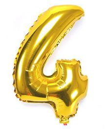 Shopperskart Helium Foil Balloon Number 4 Shape - Golden