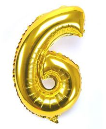Shopperskart Helium Foil Balloon Number 6 Shape - Golden