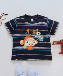 Baby Yi Monkey Applique Tee - Blue