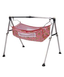New Natraj Portable Baby Cradle Teddy Print - Red