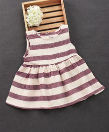 Fashion Baby Striped Dress - Maroon & White
