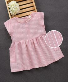 Fashion Baby Striped Two Side Pocket Design Dress - Pink