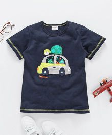 Jumping Baby Car Applique Tee - Blue