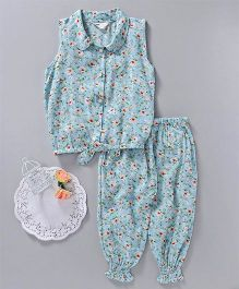 Happiness Flower Printed Top & Pant Set - Aqua Blue
