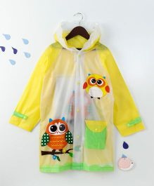 Full Sleeves Hooded Raincoat Owl Print - Yellow