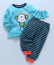 Babyhug Full Sleeves Night Suit Monkey Print - Blue