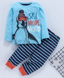 Babyhug Full Sleeves Night Suit Ski Mode Print - Sky Blue