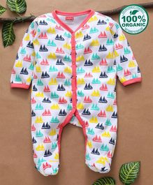 Babyhug Full Sleeves Organic Cotton Sleepsuit Boat Print - Pink White