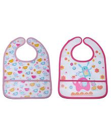 Little Hip Boutique Flower & Cup Print Bib Set - Pink & Baby Pink