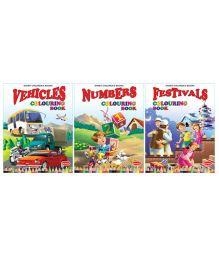 Theme Colouring Book Numbers Vehicles Festivals Pack Of 3 - English