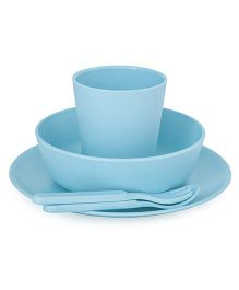 Bobo&Boo Bamboo Dinnerware Set of 5 - Aqua Blue