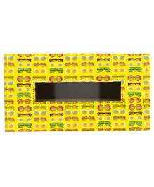 TThe Crazy Me Leatherette Tissue Box Holder Sunglasses Print - Yellow