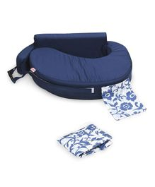 Babyhug Feeding Pillow With Nursing Cape - Navy Blue