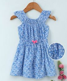 Babyhug Short Sleeves Frock Floral Print - Blue White