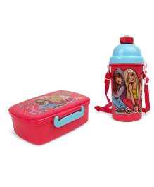Barbie Combo Pack of Lunch Box & Water Bottle - Dark Pink Blue