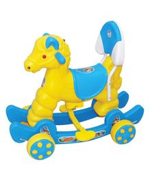 Funride Murphy Musical Horse 2 In 1 Rocker Cum Ride On - Blue Yellow
