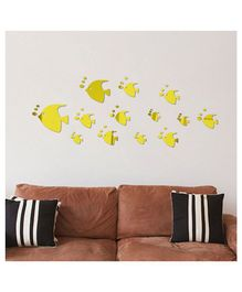 Syga Fish With Bubble Shape Acrylic Wall Sticker - Golden