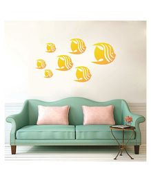 Syga Fish With Wings Shape Acrylic Wall Sticker - Golden
