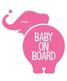 Syga Baby On Board Elephant Car Sticker - Pink
