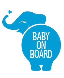 Syga Baby On Board Elephant Car Sticker - Blue