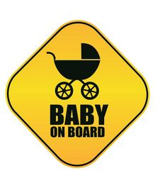 Syga Baby On Board With Stroller Car Sticker - Yellow