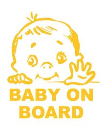 Syga Baby On Board With Stopping Indication - Yellow