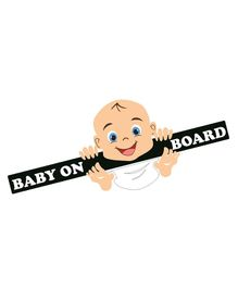 Syga Laughing Baby On Board Car Sticker - Black