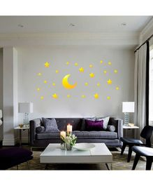 Syga Stars & Moon Shape Acrylic Wall Sticker - Golden