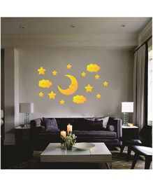 Syga Stars & Moon With Eyes Acrylic Wall Sticker - Golden