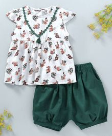 Baby Kids Floral Dress With Bloomer - White & Green