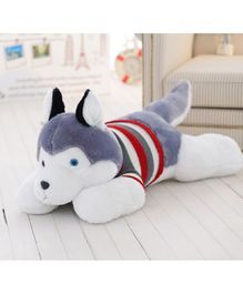 Skylofts Husky Dog Soft Toy Grey - Length 70 cm