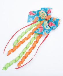 Ribbon Candy Designer Danglers Hair Clip - Blue Orange & Green