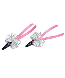 Ribbon Candy Bow Snap Clips Pair of 2 - White Pink