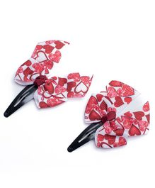 Ribbon Candy Bow Snap Clips Heart Print Pair of 2 - Red White