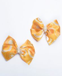 Ribbon Candy Hair Clips Bow Appliques Pair of 2 - Yellow