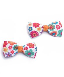 Ribbon Candy Hair Clips Bow Appliques Pair of 2 - White Multicolour