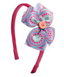 Ribbon Candy Hair Band Bow Applique - Fuchsia Multicolour