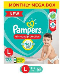 Pampers Pant Style Large Size Diapers Monthly Box Pack - 128 Pieces