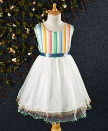 Jing Ling Striped Dress - White