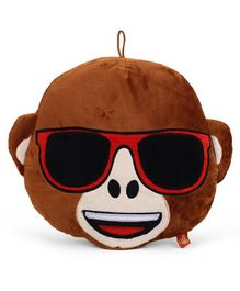My Baby Excels Emoji Monkey Feeling Cool Face Plush Soft Toy Brown - Height 30 cm