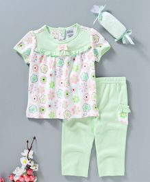 Baby Kids Floral Print Top & Pajama Set - Green