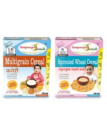 Sampoorna Satwik Combo Multigrain Stage 2 & Sprouted Wheat Cereal Pack of 2 - 200 gm each