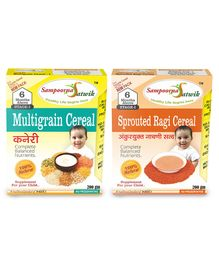 Sampoorna Satwik Combo Sprouted Wheat & Ragi Cereal Pack of 2 - 200 gm each