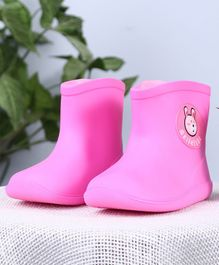 Cutewalk Solid Color Gumboots Bear Patch - Pink