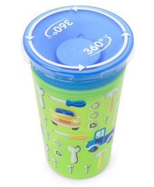Munchkin Miracle 360 Decorated Sippy Cup Vaycal Tools Print Green & Blue - 266 ml