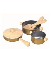 Plan Toys Cooking Utensils Set Pack of 6 Pieces - Brown