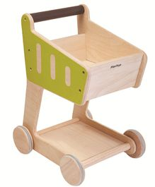 Plan Toys Wooden Shopping Cart - Green