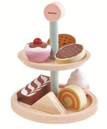 Plan Toys Wooden Bakery Stand Set Multicolour - Pack of 6 Pieces